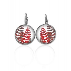 Lever-back wire earrings with a naïve leaves theme in reds and pinks