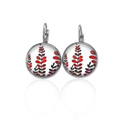 Lever-back earrings with a naïve leaves them in red and Khaki