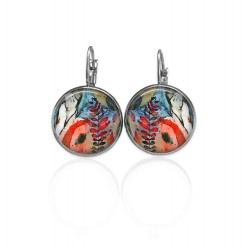 Lever-back earrings with an abstract theme in blues and reds.