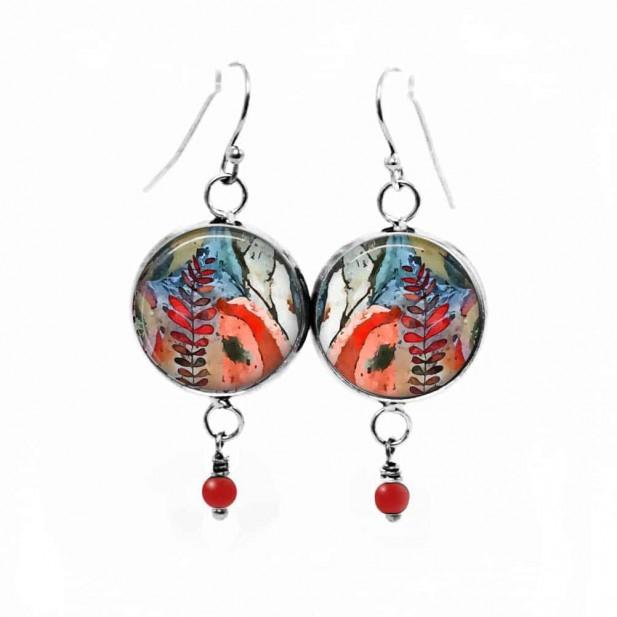 Boucles d'oreilles pendantes avec perle-Thème Mabon Automne abstrait