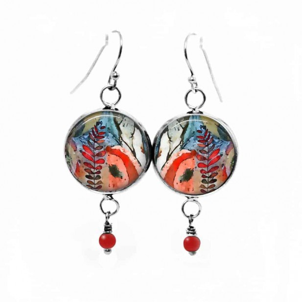 Dangling earrings with pearls red-Theme Mabon fall abstract