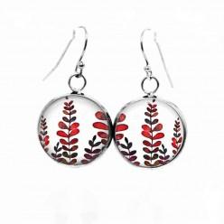 Boucles d'oreilles pendantes Thème Mabon Feuilles rouges et khaki