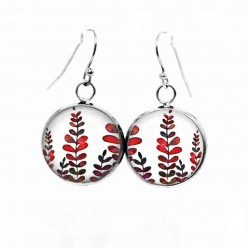 "Simple dangle earrings with Red and khaki leaves Theme ""Mabon"""