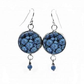 Boucles d'oreilles pendantes avec perle bleues assorties