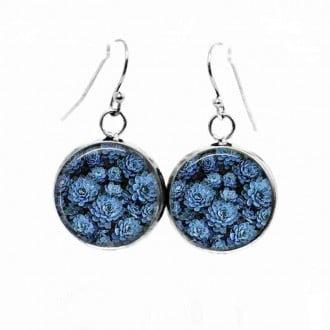 Boucles d'oreilles pendantes Thème Ostara Fleurs bleues