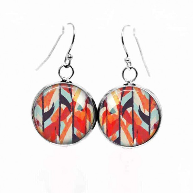 Simple dangle earrings with the Theme: Red abstract watercolor