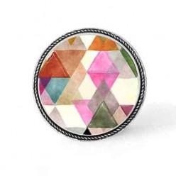 Bouton - cabochon en forme de Cadre en 30mm pour collier interchangeable : thème triangles boho