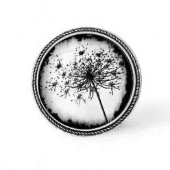 Bouton - cabochon Cadre pour collier interchangeable : thème Pissenlit noir et blanc