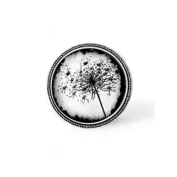 Bouton - cabochon en forme de Cadre en 30mm pour collier interchangeable : thème Pissenlit noir et blanc