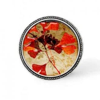 Bouton - cabochon en forme de Cadre en 30mm pour collier interchangeable : thème Feuille de Gingko rouge