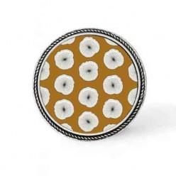 Bouton - cabochon Cadre pour collier interchangeable : thème Fleurs sur fond moutarde