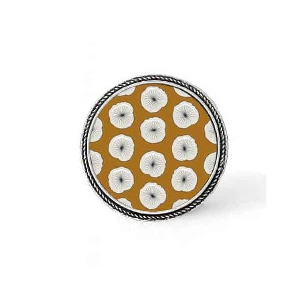 Bouton - cabochon en forme de Cadre en 30mm pour collier interchangeable : thème Fleurs sur fond moutarde