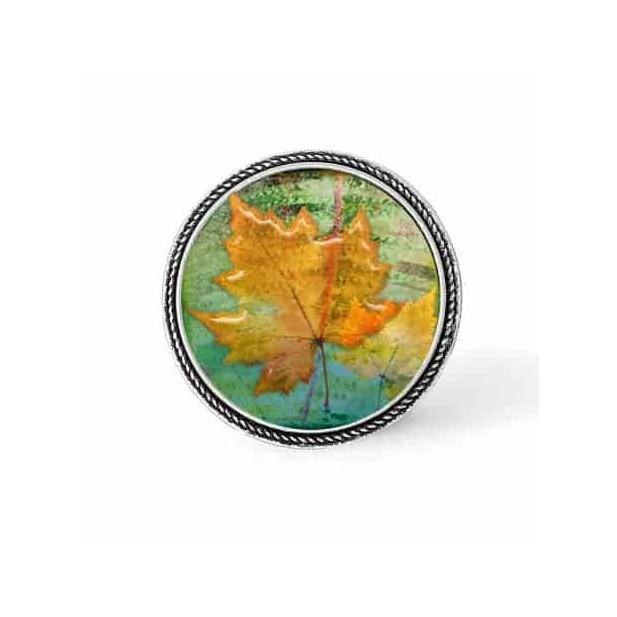 Bouton - cabochon en forme de Cadre en 30mm pour collier interchangeable : thème Herbarium feuille jaune