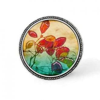 Bouton - cabochon en forme de Cadre en 30mm pour collier interchangeable : thème herbarium Feuilles rouges