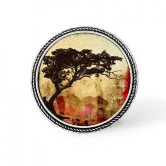 Bouton - cabochon en forme de Cadre en 30mm pour collier interchangeable : thème Acacia tortillis