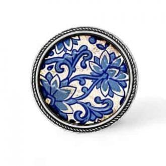 Bouton - cabochon en forme de Cadre en 30mm pour collier interchangeable : thème porcelaine bleu
