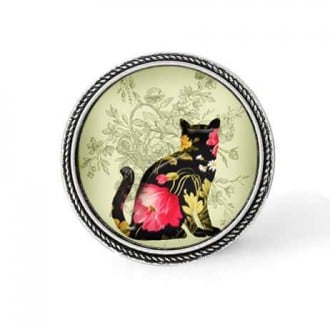Bouton - cabochon en forme de Cadre en 30mm pour collier interchangeable : thème Chat floral rose