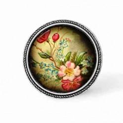 Bouton - cabochon en forme de Cadre en 30mm pour collier interchangeable : thème Fleurs vintage