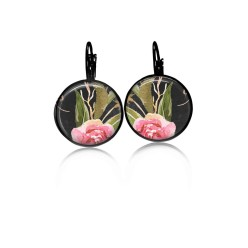 Lever-back earrings with a boho floral theme :pink peony and green leaves