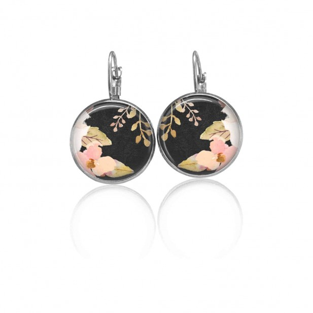 Boucles d'oreilles dormeuses Boho floral roses pastels