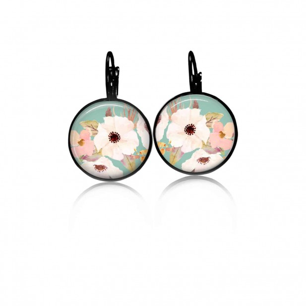 Lever-back earrings with a boho floral theme: white flower and watergreen
