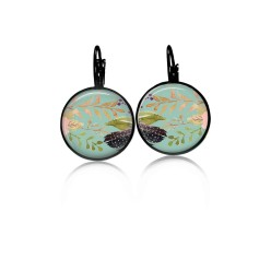 Lever-back earrings with a boho floral theme: branches, feathers on watergreen