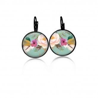 Boucles d'oreilles dormeuses motif boho floral fond vert d'eau fleur rose - noir