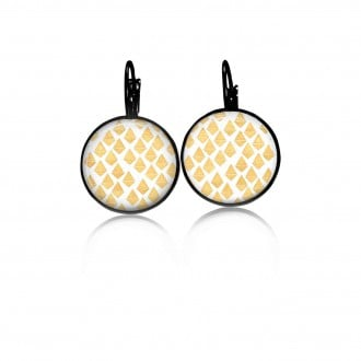 Boucles d'oreilles dormeuses diamonds dessinés jaune - noir