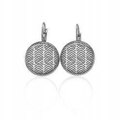 Lever-back earrings with a hand-drawn chevron pattern in black and white