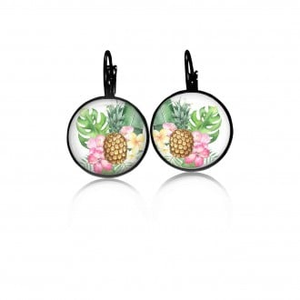 Lever-back earrings with a tropical pineapple theme in pinks and greens