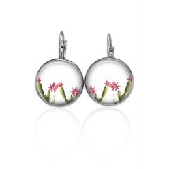 Boucles d'oreilles dormeuses petits cactus fleuris vert et rose