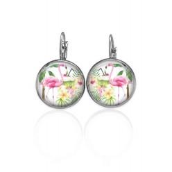Boucles d'oreilles dormeuses Tropical Flamant rose