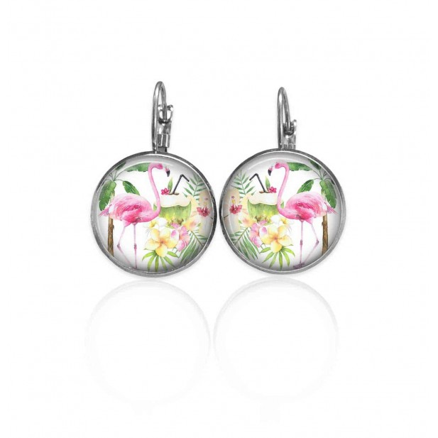 Lever-back earrings with a tropical pink flamingo theme in pinks and greens