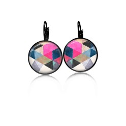 Lever-back earrings with a water-color triangles theme: pink, blue and black