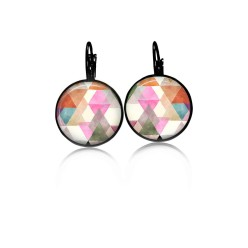 Lever-back earrings with a water-color triangles theme: rusts, pinks and greens