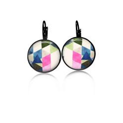 Lever-back earrings with a water-color triangle theme: pink, blue and green
