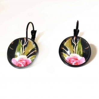 Lever-back earrings with a boho floral theme :pink peony and green leave