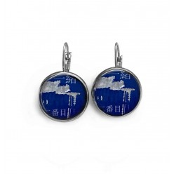 """Asia Grunge blue Metal"" french wire earrings"