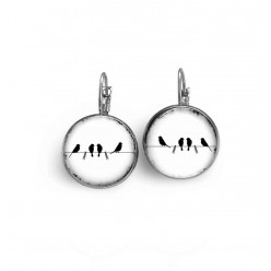 Lever-back earrings in a black and white birds on the wire theme
