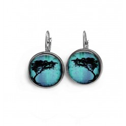 Lever-back earrings with an Acacia Tortillis tree theme on deep turquoise
