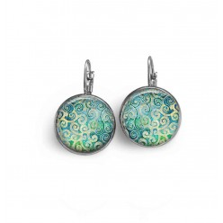 French sleeper style earrings with a green and turquoise spirals theme.