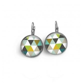 French wire earrings with a green triangles theme.
