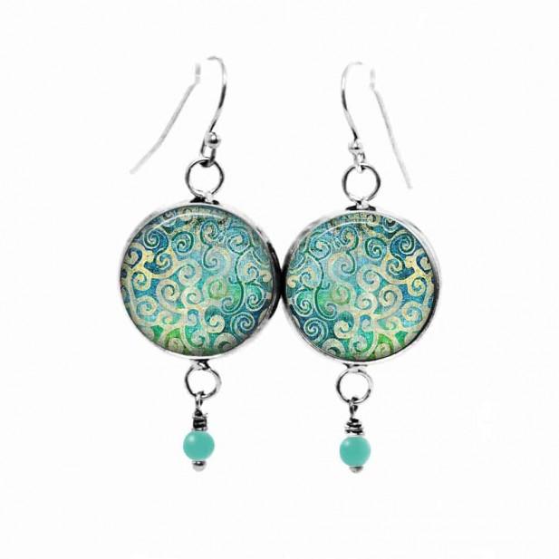 Boucles d'oreilles pendantes Thème Tourbillons Turquoises
