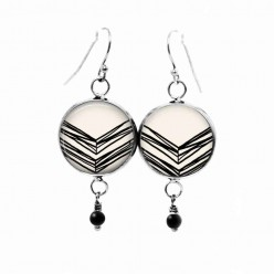 Black and cream hand-drawn chevron dangle earrings with black glass bead