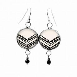 Black and cream hand-drawn chevron dangle earrings with black glass bead