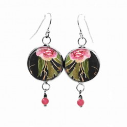 Beaded dangle earrings with a boho floral theme :pink peony and green leaves