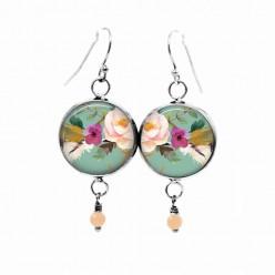 Boucles d'oreilles pendantes Thème : motif boho floral fond vert d'eau fleur rose