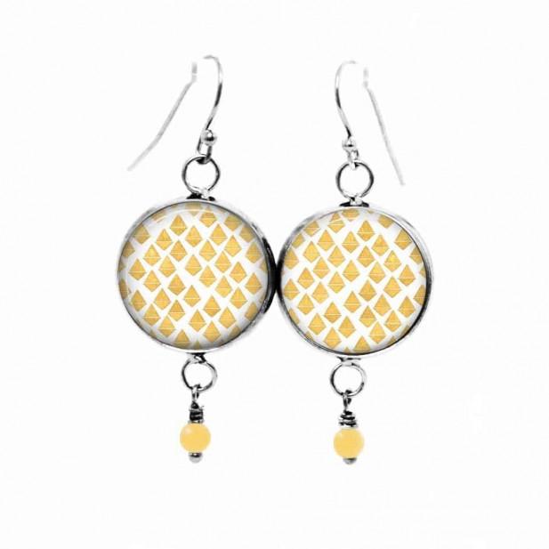 Theme mosaic of hearts dangling earrings