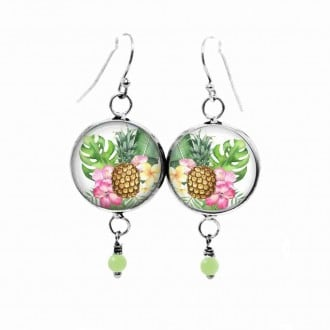 Tropical pineapple themed earrings in pinks and greens