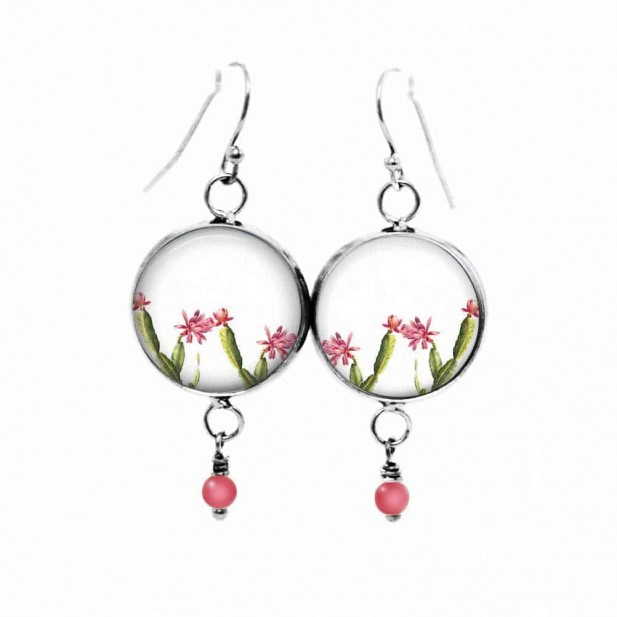 Beaded dangle earrings with a dainty, pink and green, hand-drawn cactus theme